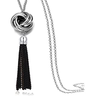 Merdia Jewelry Woman's Flower Shape Simulated Crystal and Created Pearl Pendant Long Chain Sweater Necklace pqFVX