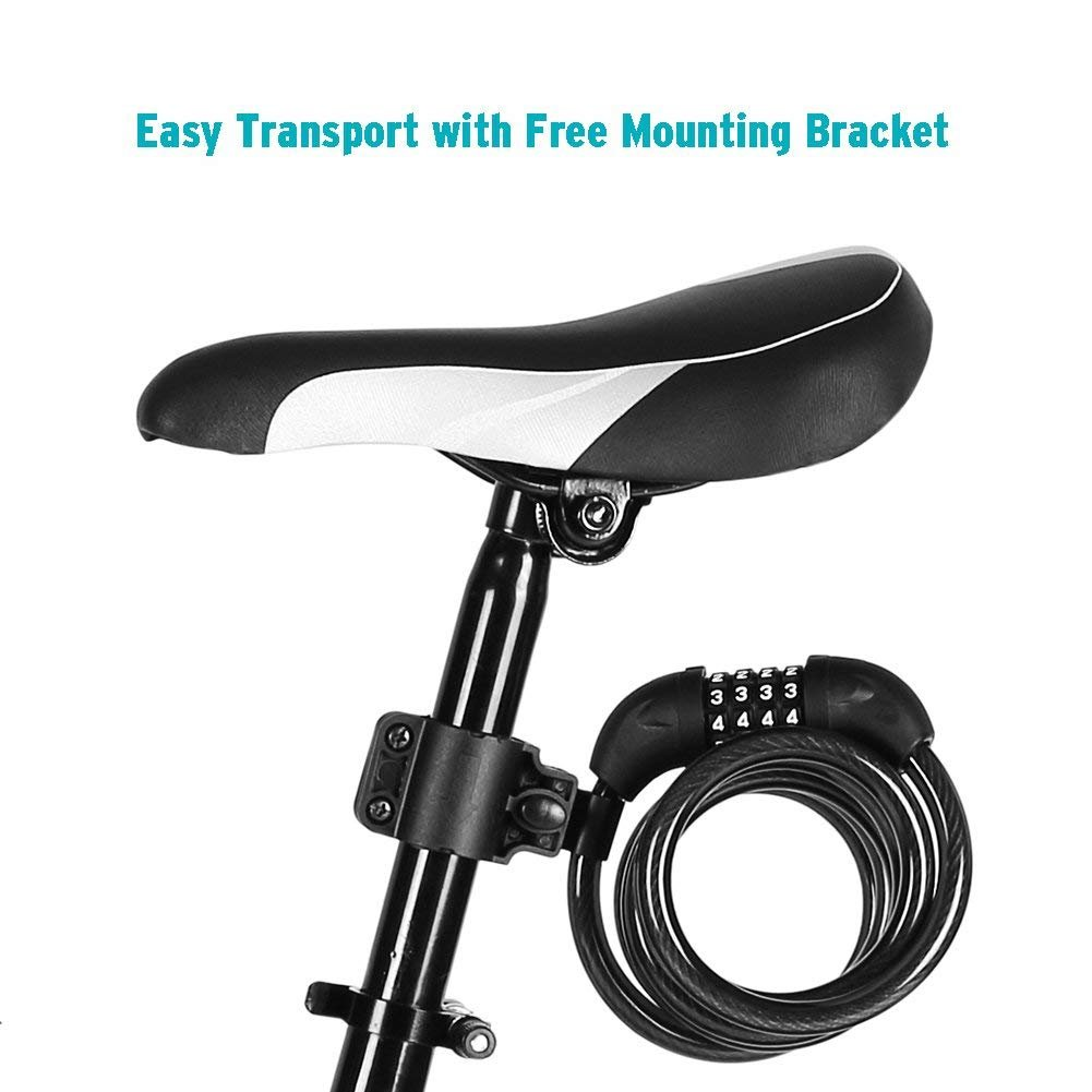 Titanker Bike Lock, Bike Locks Cable 4 feet or 6 feet Coiled Secure Resettable Combination or Keys Bike Cable Lock with Mounting Bracket, 1/2 Inch Diameter (Black Type-2(6 feet)) by Titanker (Image #5)