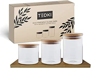 TEDKI Glass Jars with Bamboo Lids and Wooden Bamboo Rack - Glass Food Storage Containers With Lids Airtight Set of 3-8oz, 10oz, 15oz Kitchen Glass Canisters With Airtight Lid for Flour, Cereal, Coffee
