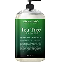 Tea Tree Antifungal Body Wash Extra Strength - Antibacterial Soap for Acne, Body Odor, Foot and Toenails - Helps Wash Away Bacteria, Athletes Foot, Eczema, Ringworm, Jock itch By Buena Skin