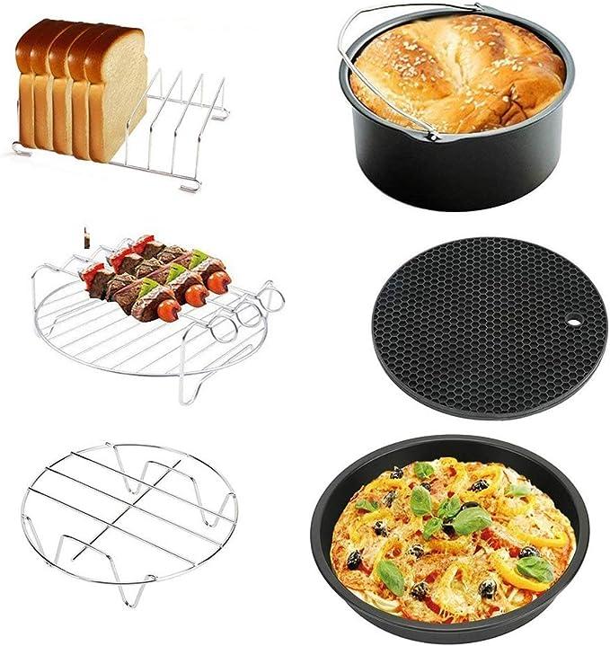accesorios de cocina bandeja para pasteles de 6//7//8 pulgadas//bandeja pizza//parrilla para tostadas//parrilla para vapor//almohadilla aislante 1 juego de accesorios antiadherentes para freidora de aire