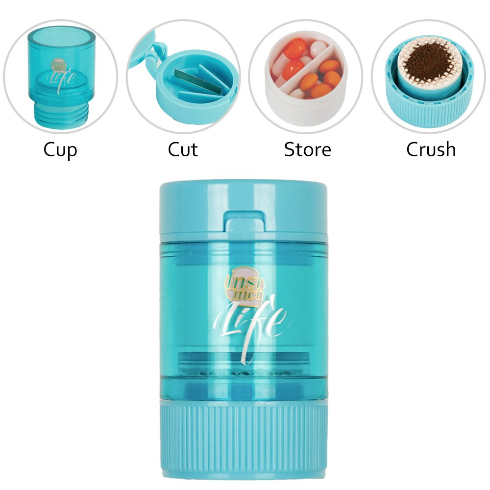 Bidear Pill Crusher Grinder Splitter Functional 3 in 1 Pill Cutter with Travel Pill Case (Blue)