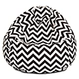Majestic Home Goods Classic Bean Bag Chair - Chevron Giant Classic Bean Bags for Small Adults and Kids (28 x 28 x 22 Inches) (Chocolate Brown)