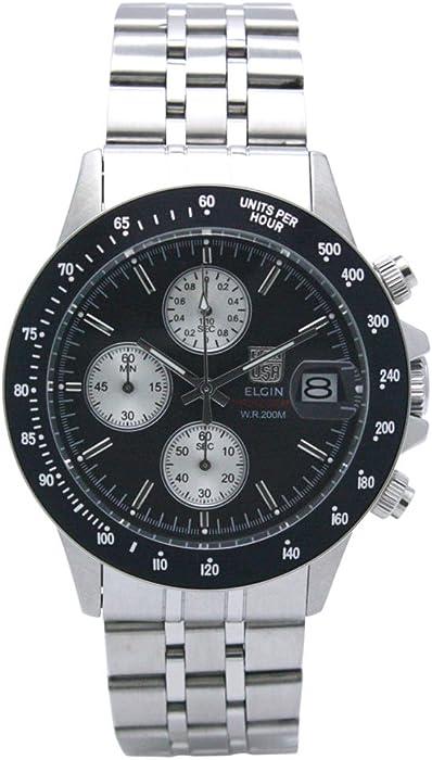 e231cd58de [エルジン]ELGIN 腕時計 200M防水 クロノグラフ 日本製セイコームーブメント オールステンレス ブラック FK1408S-B メンズ