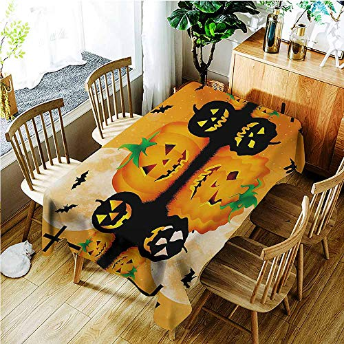 TT.HOME Anti-Fading Tablecloths,Halloween Spooky Carved Halloween Jack o Lantern and Full Moon with Bats and Grave Lake,Table Cover for Kitchen Dinning Tabletop Decoratio,W52x70L,Orange Black -