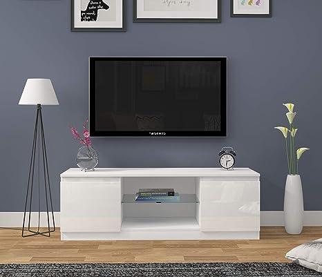Meuble TV Moderne avec lumi/ères LED Meuble TV et Portes Haute Brillance Buffet Mat RGB LED Meuble de Salon