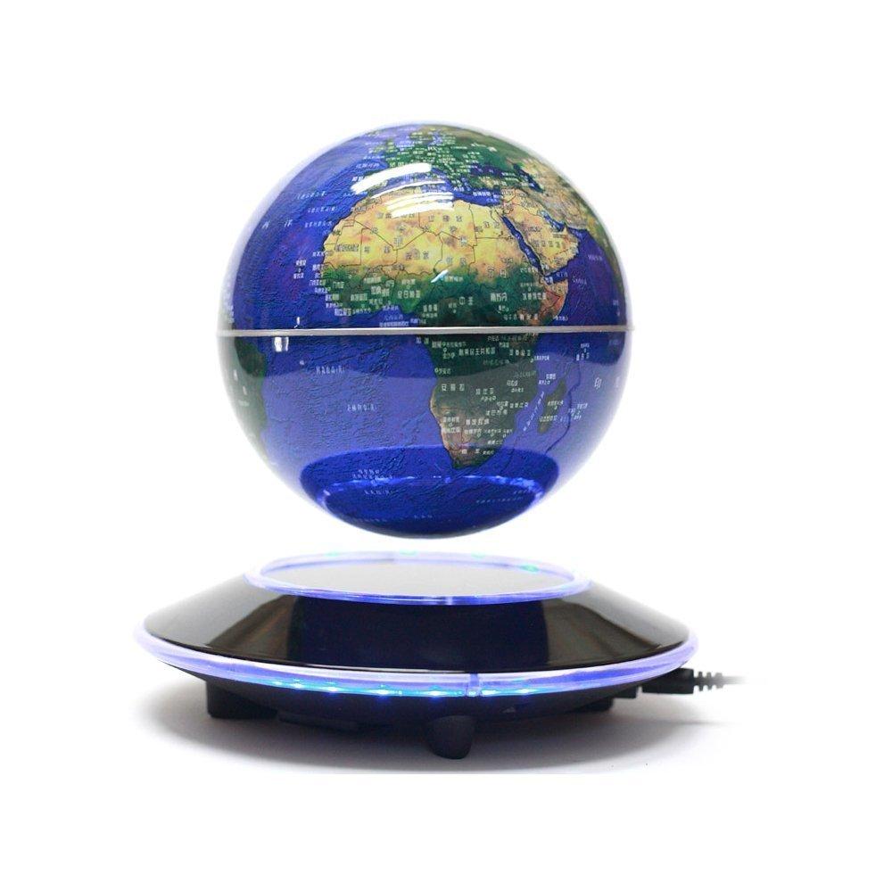 Senders 6Inch Floating Globe with LED Lights Magnetic Levitation Floating Globe World Map for Desk Decoration (Blue,6Inch)