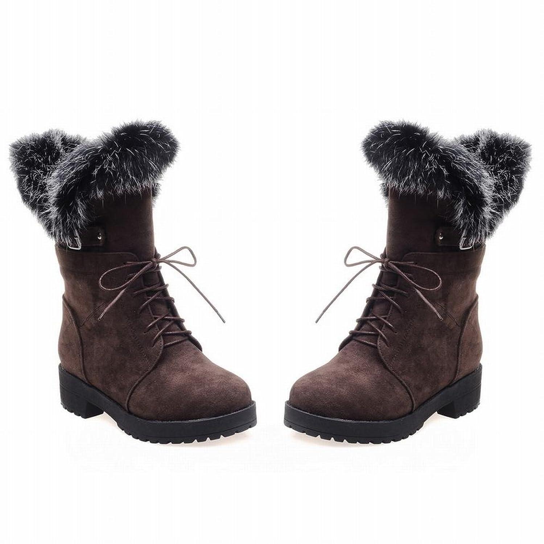 Show Shine Women's Fashion Rabbit Hair Platform Mid Chunky Heel Snow Boots