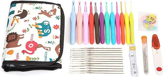 Ganchos de ganchillo con estuche, manija ergonómica Ganchos de ganchillo agujas Set de costura herramientas de tejer: Amazon.es: Hogar