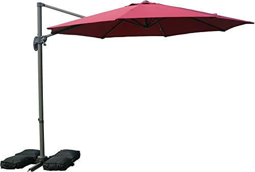 Kozyard Roma Offset Umbrella – 10Ft Cantilever Patio Hanging Umbrella with Umbrella Cover, Outdoor Market Umbrellas with Crank Lift Cross Base and 110lbs Sand Bag Burgundy