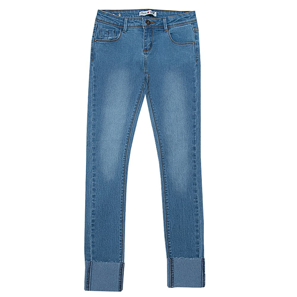 Teen G's Big Girls Classic Skinny Denim Jeans With High Cuff Buttom KP26 (6, M BLUE)