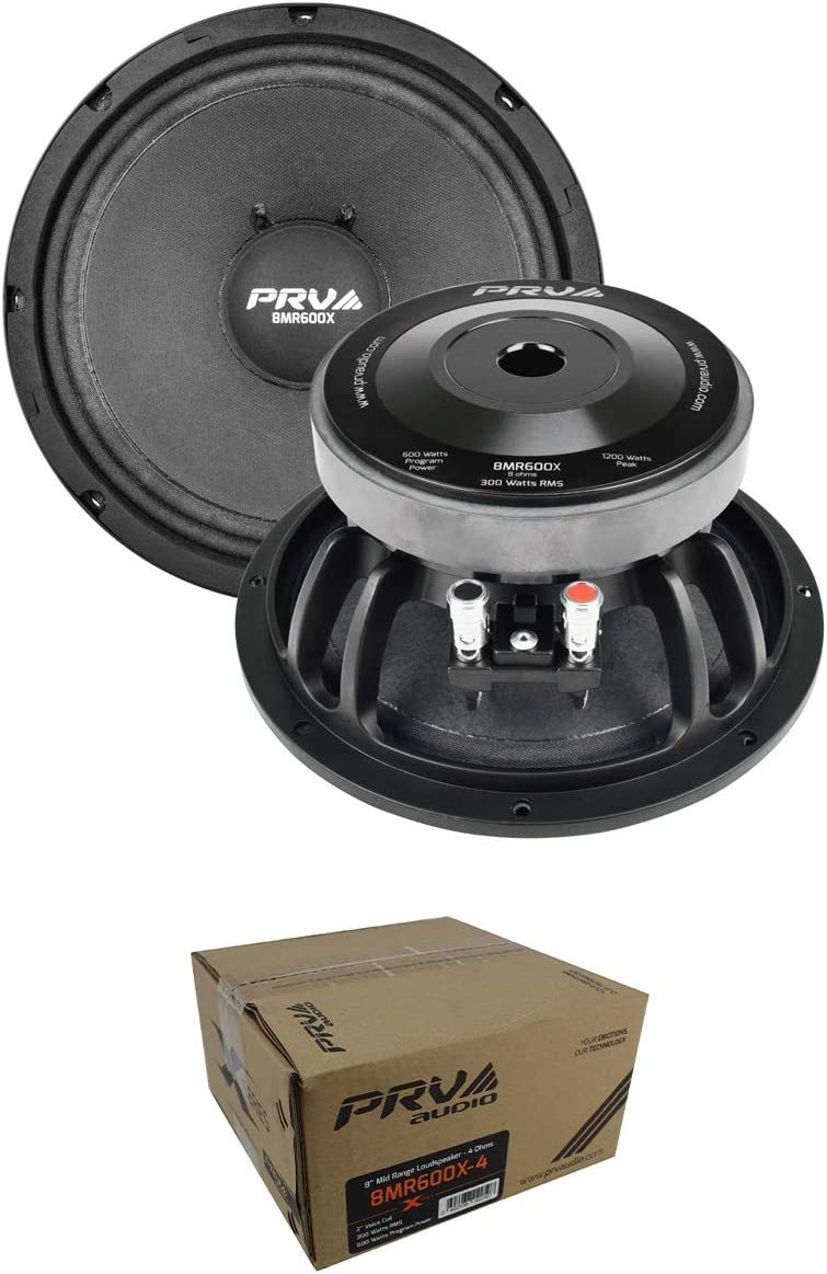 "2 x PRV 8"" Midrange Loudspeaker 1200 Watt 4 Ohm Car Audio 8MR600X-4"