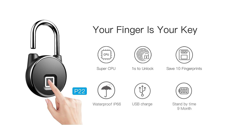 Travel & Roadway Product Anytek P22 Smart Keyless Fingerprint Lock Ip66 Anti Theft Security Padlock Semiconductor Fingerprint Sensing Technology