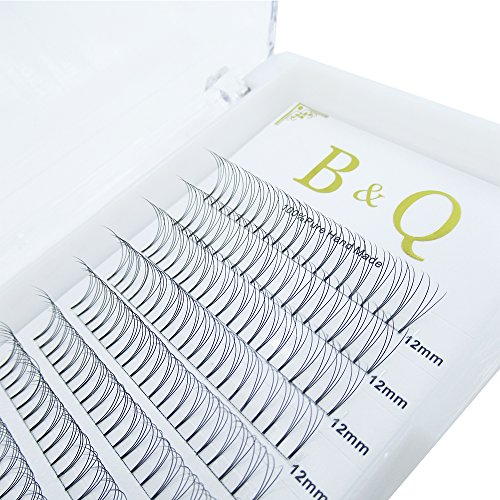 Premade Volume Fans Eyelash Extensions 12 Rows/Tray Short Stem Russian Volumes Lashes Extensions Fans Individual Cluster Eyelash Extensions (3D-D curl-0.07, 12mm)
