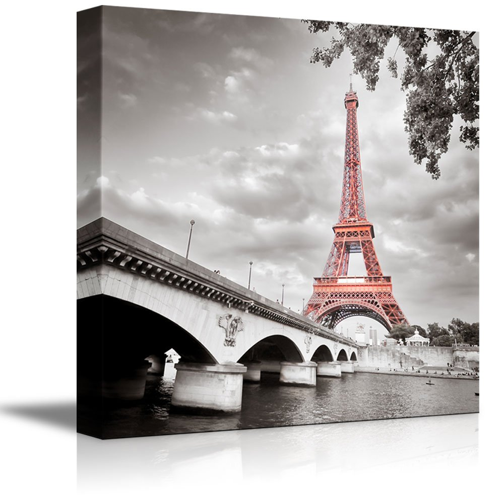 "wall26 Canvas Prints Wall Art - Eiffel Tower in Paris, France | Modern Wall Decor/Home Decoration Stretched Gallery Canvas Wrap Giclee Print. Ready to Hang - 16"" x 16"""