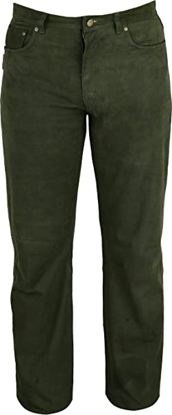 Fuente Leather Wears Caza Piel Pantalones Hombre - Real Nobuck - Oliva Verde Oliva M