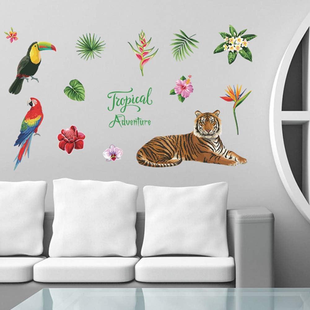 1set Auto-adh/ésif Tropical mureaux Cartoon Tiger Parrot Wall Sticker Bricolage Art Stickers Mural pour Chambre denfants Autocollant Sticker Muraux pour Maison