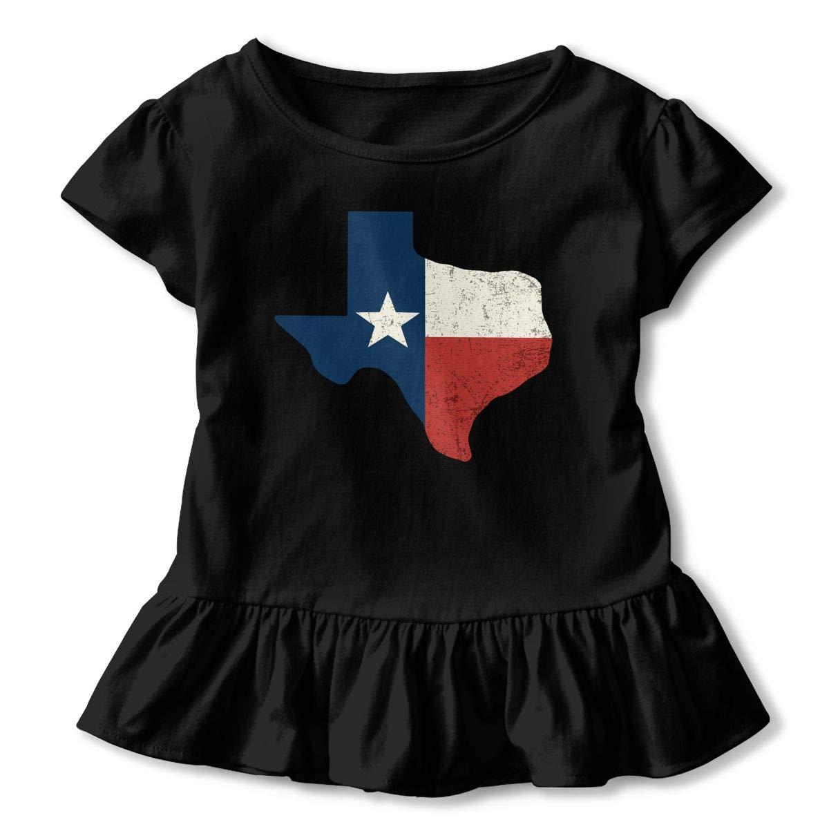 Vintage Texas Flag Toddler//Infant Girls Short Sleeve T-Shirts Ruffles Shirt Tee for 2-6T