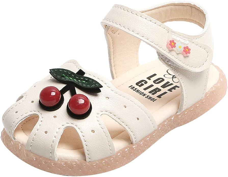 LEvifun Sandales Fille Bébé Princesse Mode Chaussure Bébé Fille Bapteme Été Pas Cher Chaussures Bébé Fille Premier Pas Sandales Bout Fermé Cerise