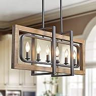 LOG BARN A03429 6-Light Metal and Wood Chandelier Pendent Light Retro Rustic Loft Antique Lamp, Wood/Oil Black