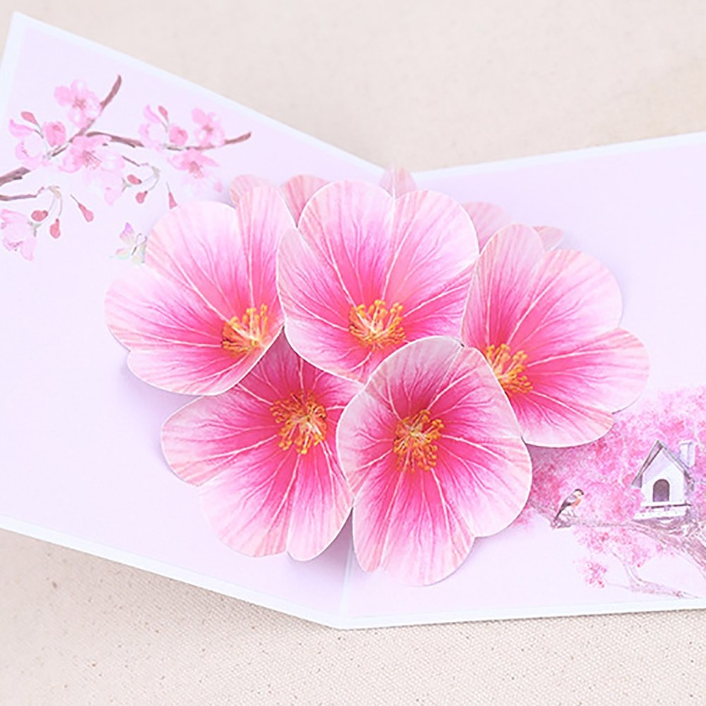 Pink Kalaokei 3D Pop Up Peach Blossom Flowers Festival Birthday Party Invitation Greeting Card