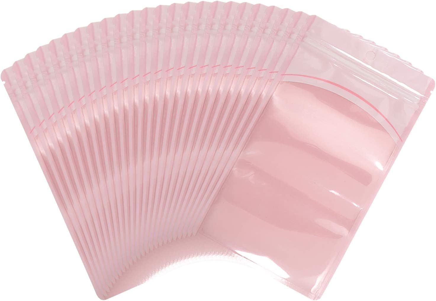 100 Pieces resealable Mylar Bags with Clear Window Smell Proof ziplock Pouch Packaging Bag for Lip Gloss Eyelash Tea Party Favors Sample Food Jewelry Craft Product (Macaron Pink, 3.15''x4.72'')