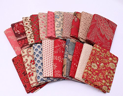 8 Fat Quarters - Moda French General France Calico Floral Flowers Red Pink Blue Cream Classic Reproduction Quality Quilters Cotton Fat Quarter Bundle M229.01