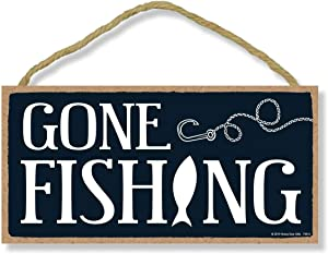 Honey Dew Gifts Fishing Decor, Gone Fishing 5 inch by 10 inch Hanging Wall Decor, Decorative Wood Sign, Gifts for Men