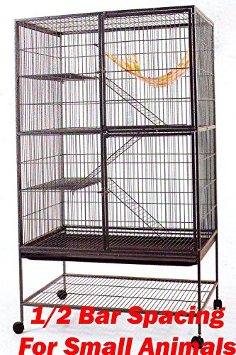 Extra Large 1/2 Inch Bar Spacing Double Large Front Doors For Feisty Ferret Chinchilla Rat Small Animal Cage With Stand,Black Vein by Mcage