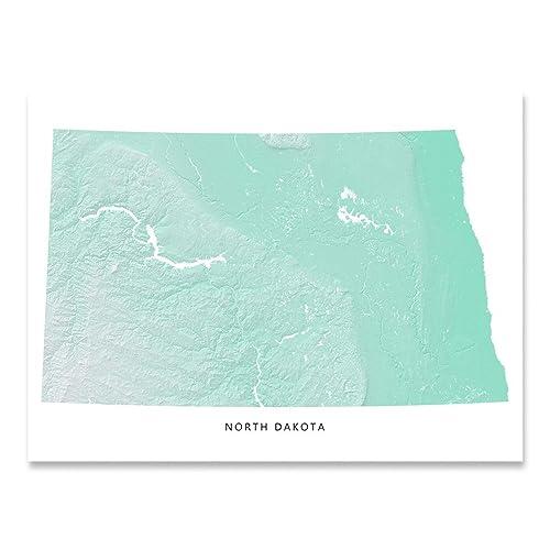 Amazon.com: North Dakota State Map Print, ND, Aqua Landscape Art ...