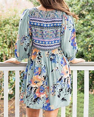 c9b85b52fa Kathemoi Womens Boho Beach Dresses Floral Tribal Print V Neck Summer Mini  Dress