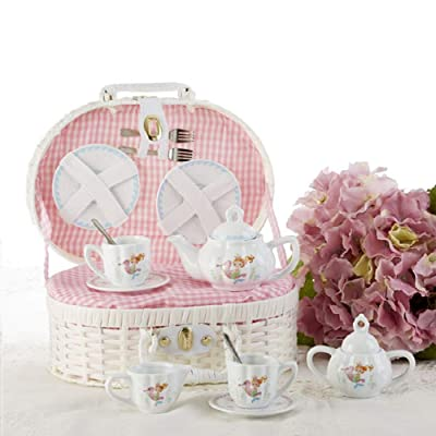 Delton Product Porcelain Tea Set in Basket Mermaid,Pink,10 x 7: Toys & Games