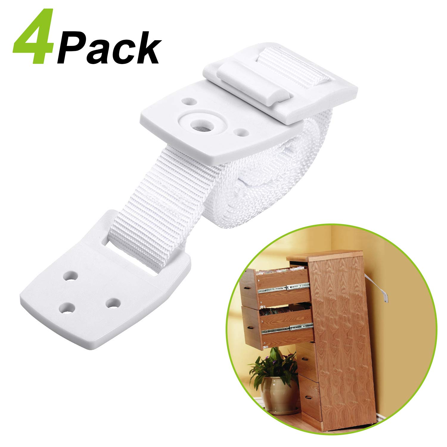 TV/Furniture Straps - Anti Tip - Adjustable Earthquake Resistant Furniture Anchors Straps Baby Proofing ¨C Attach Furniture to Wall ¨C For Dressers, Fridges, Shelves, Tv Stands