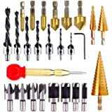 LAMPTOP 26pcs Woodworking Chamfer Drilling Tools including 6 Countersink Drill Bits, 7 Three Pointed Countersink Drill…