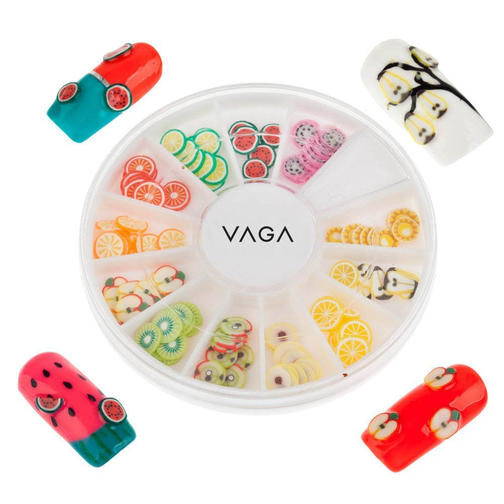 12 Colours Wheel Fruit Fimo Slices Decals Stickers Jewels Nail Art Gems By VAGA®