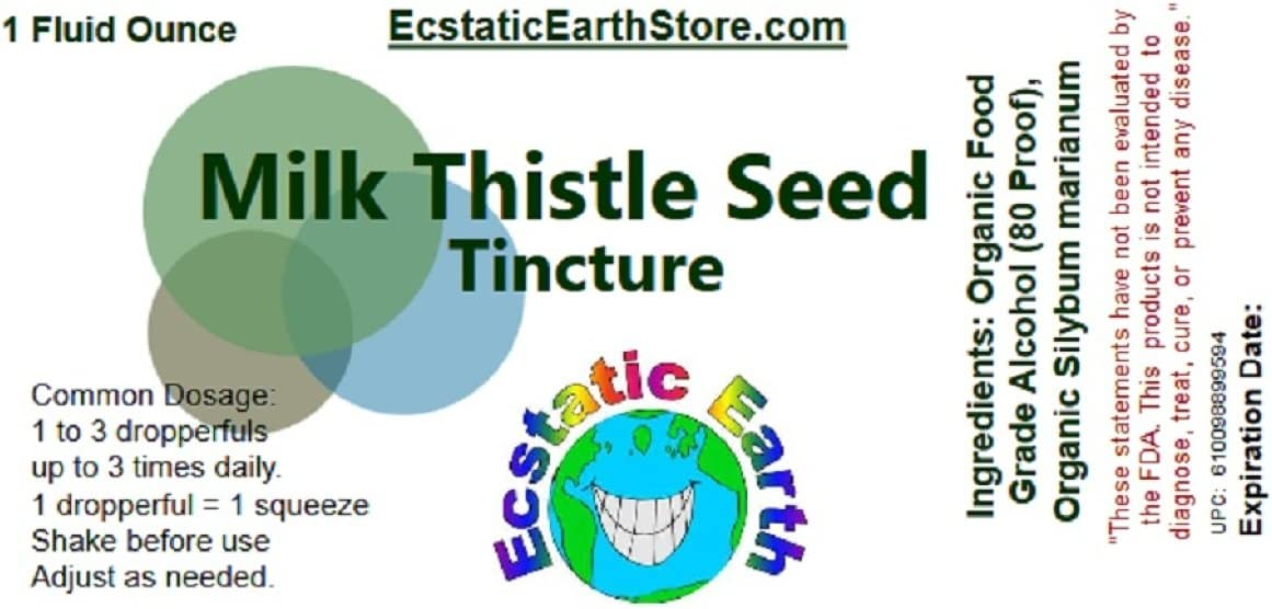Milk Thistle Seed Tincture 1 Ounce Bottle Organic