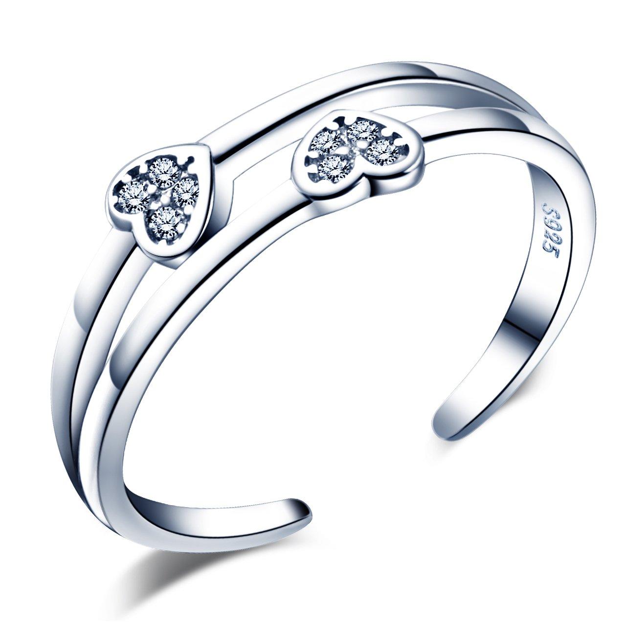Infinite U Heart - Anillo de apertura de plata de ley 925, circonita cúbica, doble línea, para mujeres/niñas, tamaño ajustable 5 – 7 tamaño ajustable 5 - 7 Infinite Jewellery R5311