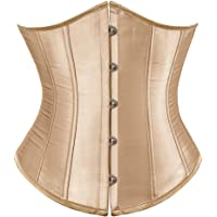Hengzhifeng Underbust Corset Tops for Women Gothic Classic Satin Lace Up Boned Bustiers