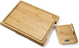 Cutting Board & Tray Bamboo and ABS with Removable Food Scale Digital Kitchen Scale 5kg( Batteries not included)