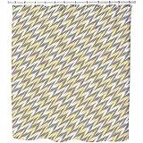 Zigzag Chevron Shower Curtain: Large Waterproof Luxurious Bathroom Design Woven Fabric