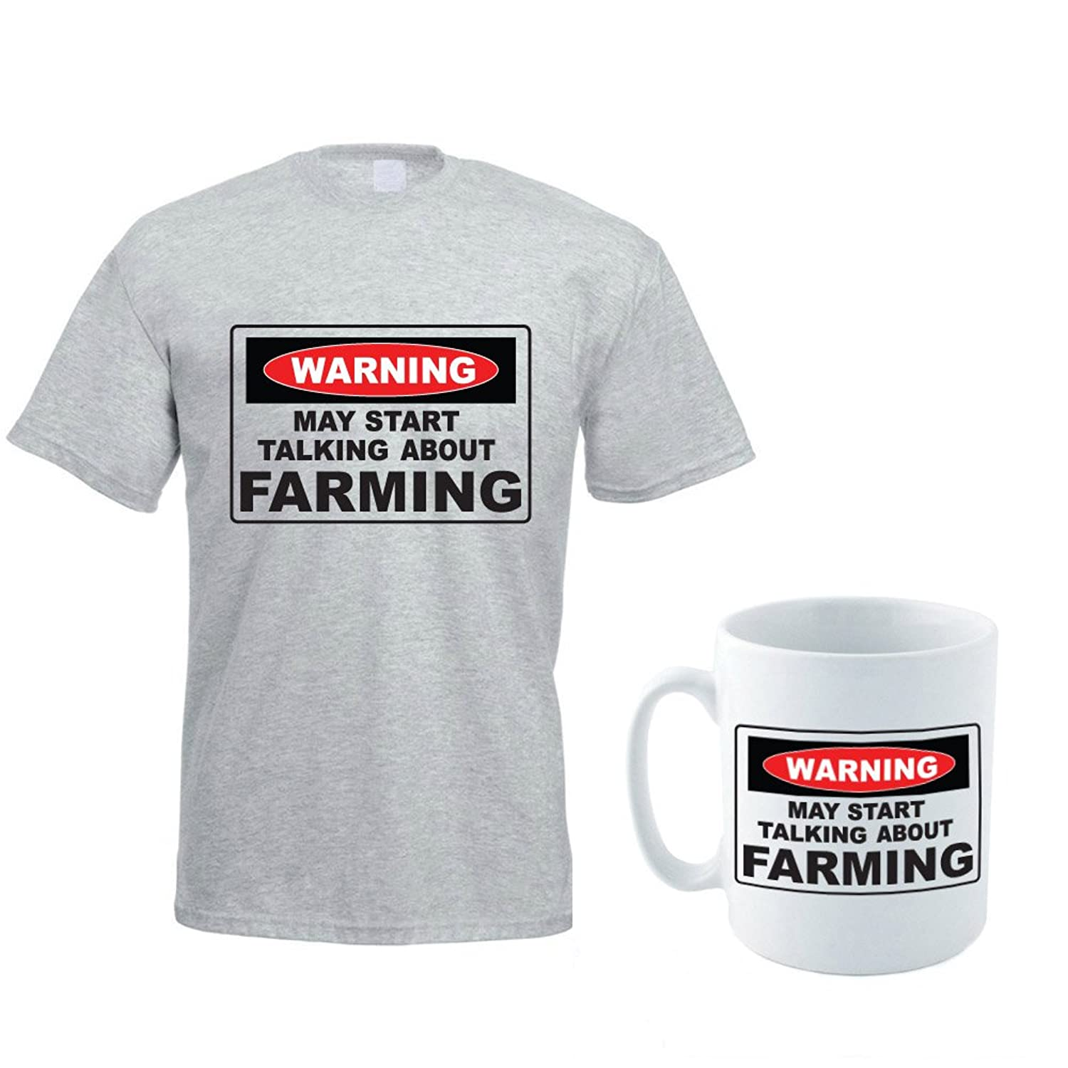 WARNING MAY START TALKING ABOUT FARMING - Father's Day / Novelty / Funny Men's T-Shirt And Ceramic Mug Gift Set
