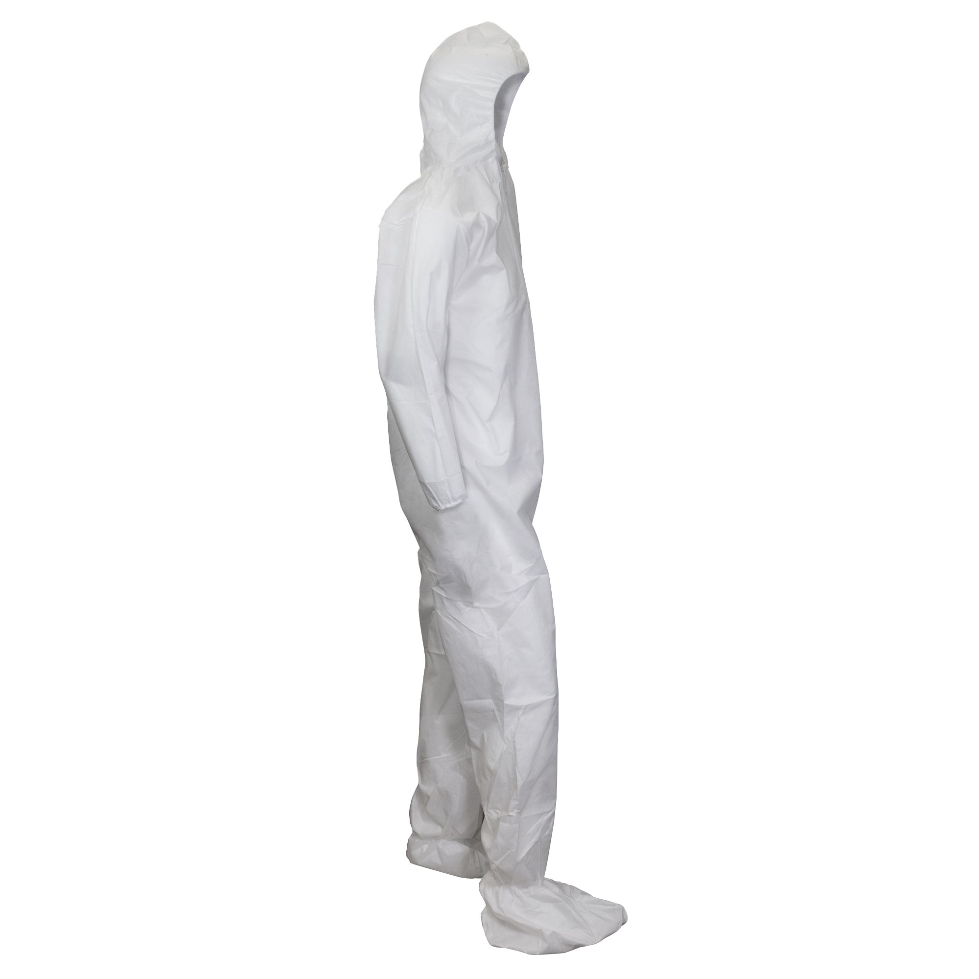 Kleenguard A10 Light Duty Coveralls (10631), Zip Front, Elastic Wrists, Hood, Boots, Breathable Material, White, 2XL, 25 / Case by Kimberly-Clark Professional (Image #2)