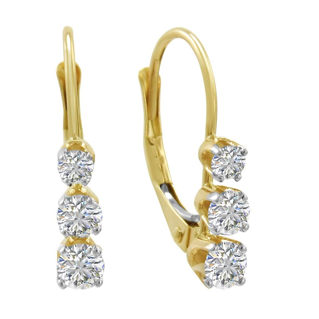 AGS Certified 1/2ct TW Three-Stone Diamond Lever Back Earrings in 14K Yellow Gold by Amanda Rose Collection
