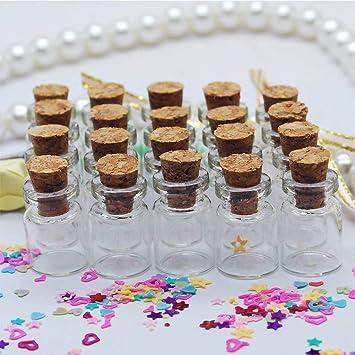 Xiton NiceButy 50pcs 0.5 ml tamaño 11x18x6mm pequeños mini frascos de vidrio tarros con tapones de
