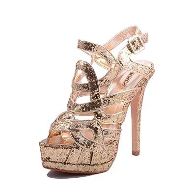e6614aec987669 Jumex Damen Party Glitzer Plateau Pumps High Heels Schuhe Gold 41 ...