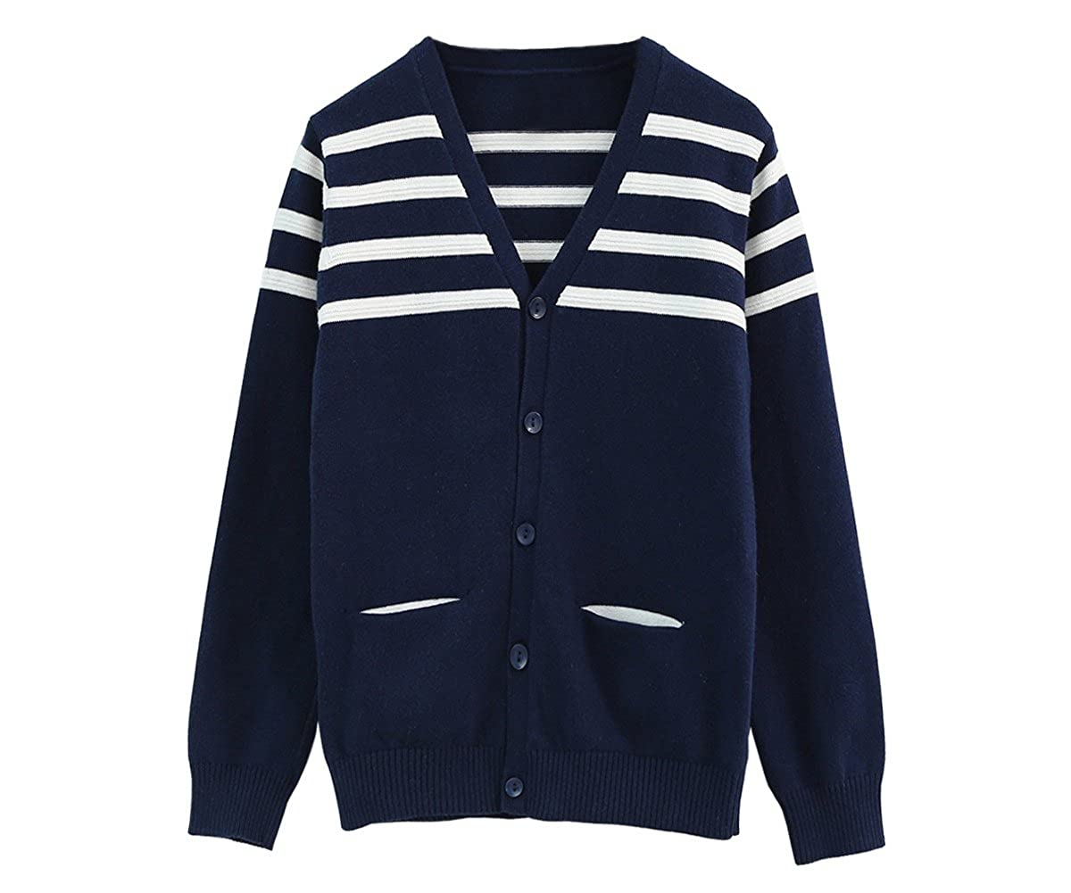 ZHUANNIAN Toddler Boys V Neck Cardigan Long Sleeve Knitwear Stripes Button Down Sweaters with 2 Pockets