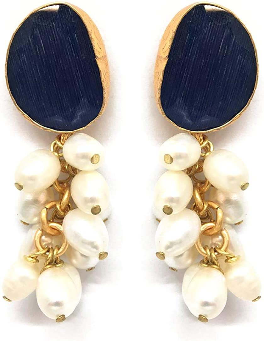 FENOMENO - Pendientes chapados en oro con colgante con piedras duras semipreciosas y perlas