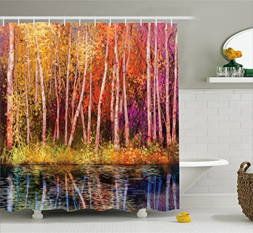 Flower Home Decor Shower Curtain, Fall Trees along with Lake Fall in Jungle Natural Paradise, Fabric Bathroom Decor Set with Hooks, 70 Inches, Grink Purple (Fall Watercolor)