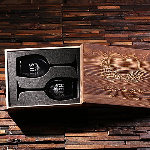 Personalized His and Her Wine Glass Set with Wood Box