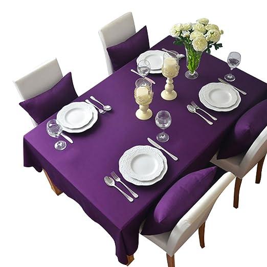 NiSeng Manteles para Mesa Rectangular y Cuadrados Mantel Antimanchas para hosteleria de Poliester Mantel Moderno Decoracion de hogar Púrpura 140x180 ...